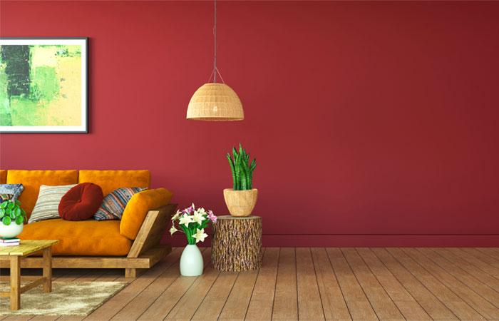 Salon mur peint couleur terracotta