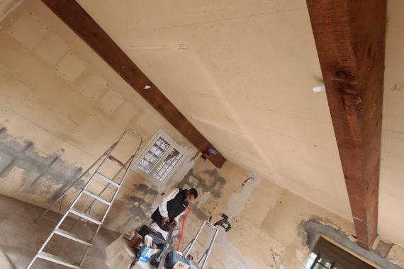 Chantier avant pose faux plafond et isolation des murs